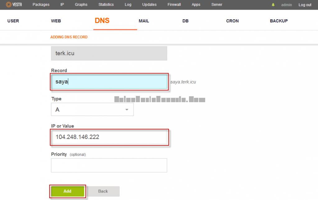 Menambah Name Server 1