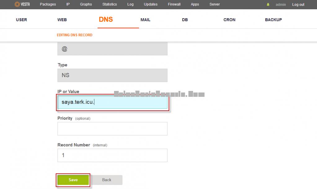 Mengubah Name Server ke Satu