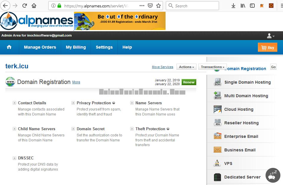 Halaman Pengaturan Domain pada Alpnames.Com