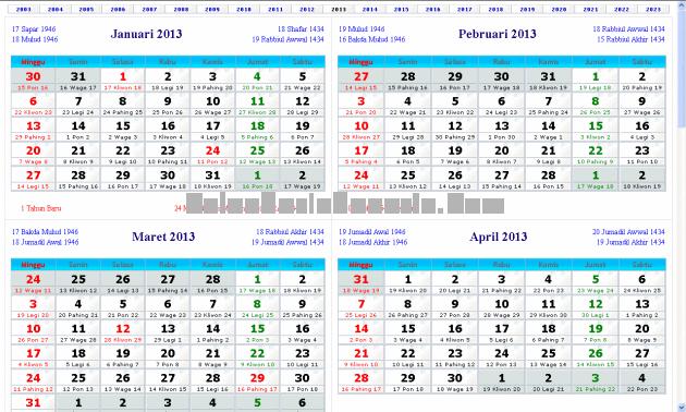Tampilan Generasi Pertama Kalender Indonesia