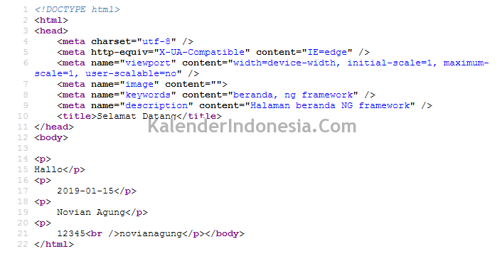 Skrip HTML Halaman Beranda NG Framework